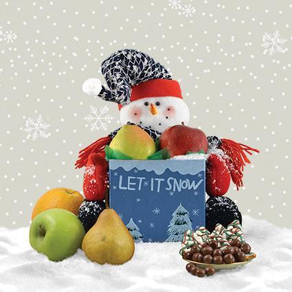 Snowman Express Fruit Gift Basket