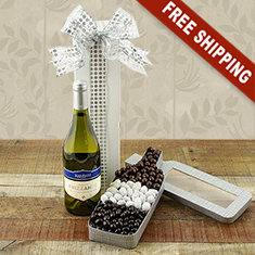 Sparkling White Wine & Chocolates Bottle Gift Basket