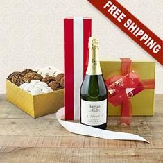 Taste Of Romance Sparkling Wine Cookies Gift Basket