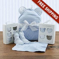 Squeaky Clean Boy Washcloths, Hooded Towel & Socks Gift Set