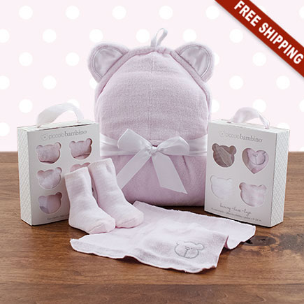 Squeaky Clean Girl Washcloths, Hooded Towel & Socks Gift Set