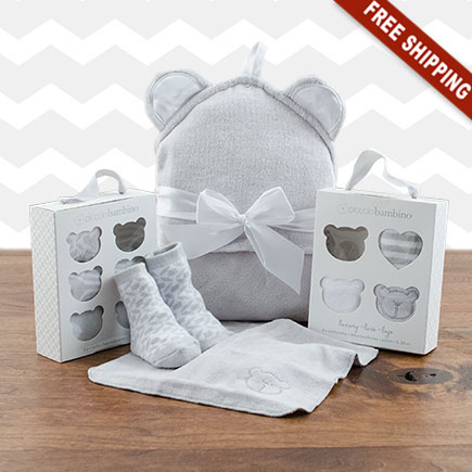 Squeaky Clean Baby Washcloths, Hooded Towel & Socks Gift Set