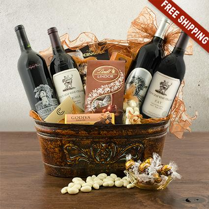 Stag's Leap and Silver Oak Quartet Wine Gift Basket