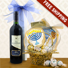 Star of David Hanukkah Wine & Gourmet Gift Basket