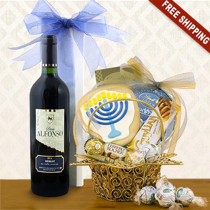 Star of David Hanukkah Wine & Gourmet Gift Basket