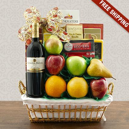 Talk Of The Town Fruit & Merlot Wine Gift Basket