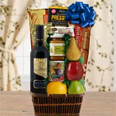 Tel Aviv Fruit & Red Wine Kosher Gift Basket