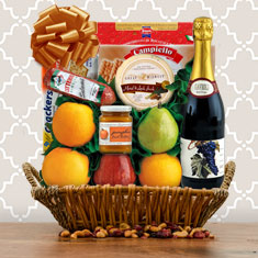 Thanksgiving Sparkling Red Grape Juice & Fresh Fruit Gift Basket
