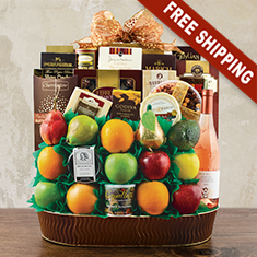 Trafalgar Square Fruit & Wine Gift Basket
