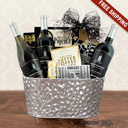 California wine baskets wine from napa valley region mondavi triple wine sonoma gift basket negle Images