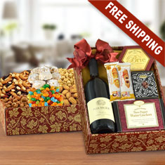 Twice As Nice Red Wine & Snax Double Decker Gift Box