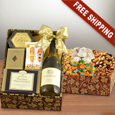 Twice As Nice White Wine & Snax Double Decker Gift Box
