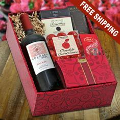 Valentine's Red Wine & Gourmet Gift Box