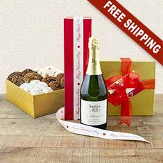 Valentine's Sparkling Wine & Cookies Gift Basket
