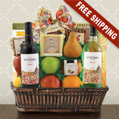 Va Bene Italian Wine, Cheese & Fruit Gift Basket