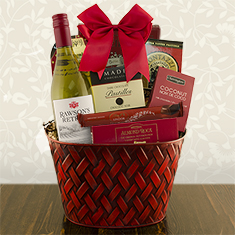 Very Merry White Wine Gift Basket