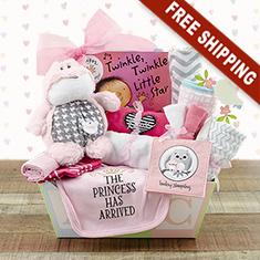 Welcome Home Baby Girl Medium Gift Basket