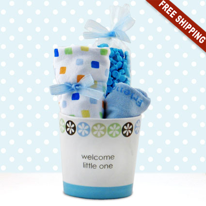 Welcome Little One Boy Ceramic Planter