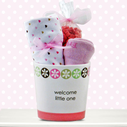 Welcome Little One Girl Ceramic Planter