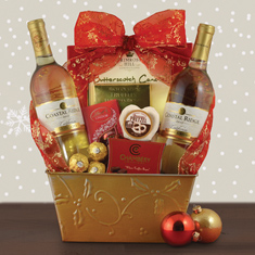 White Wine Christmas Duo Gift Basket