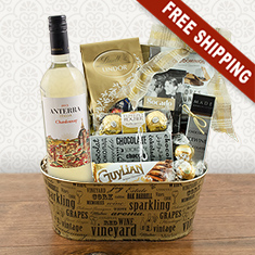 White Wine & Chocolate Gift Basket
