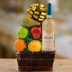 White Wine & Fresh Fruit Gift Basket
