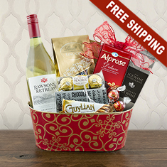White Wine Romance Gift Basket