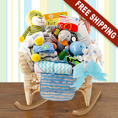Wicker Baby Rocker Boy Gift Basket