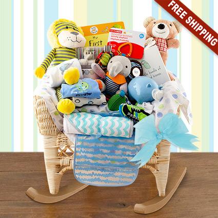 Wicker Baby Rocker Boy Gift Basket