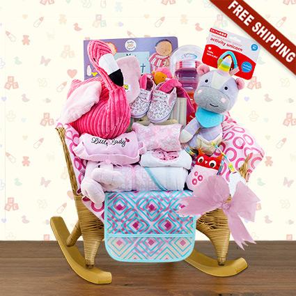 Wicker Baby Rocker Girl Gift Basket