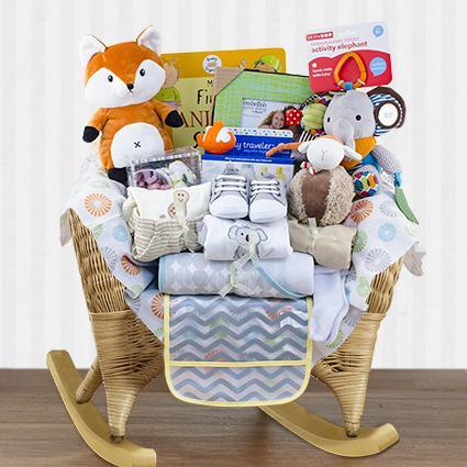 Wicker Baby Rocker Neutral Gift Basket