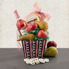 Wonderful White Zinfandel, Fruit & Cheese Gift Box