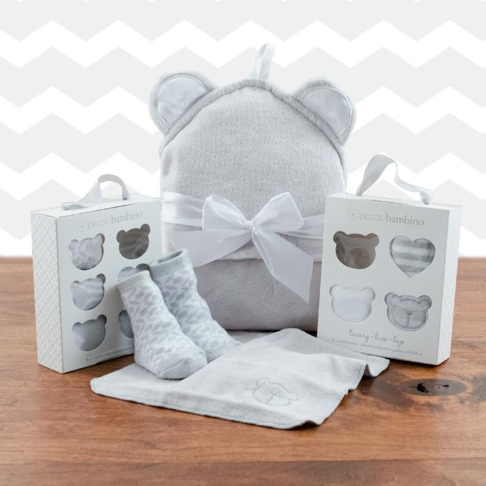 Squeaky Clean Baby Washcloths, Hooded Towel and Socks Gift Set