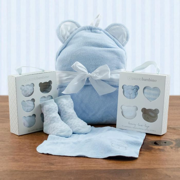 Squeaky Clean Boy Washcloths, Hooded Towel and Socks Gift Set