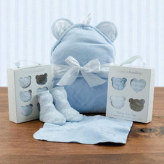 Squeaky Clean Boy Washcloths, Hooded Towel & Socks Gift Set